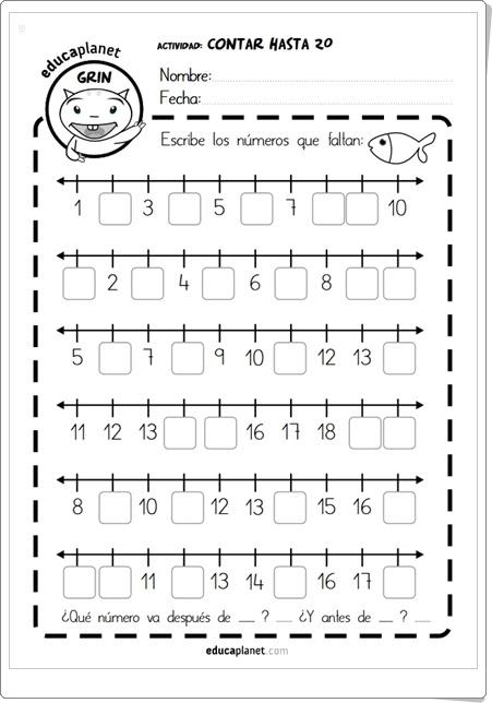 """""""Contar hasta 20"""" (Fichas de Matemáticas de 1º de Primaria)"""