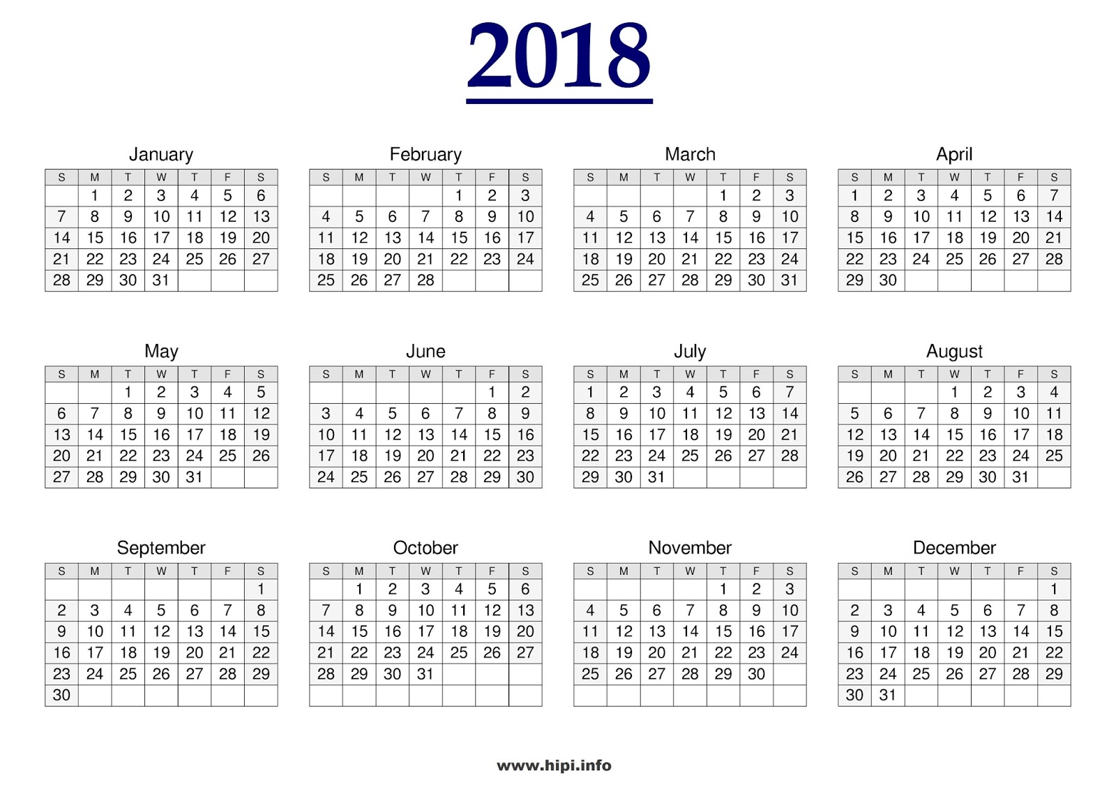 2018 calendar on one page - Gse.bookbinder.co