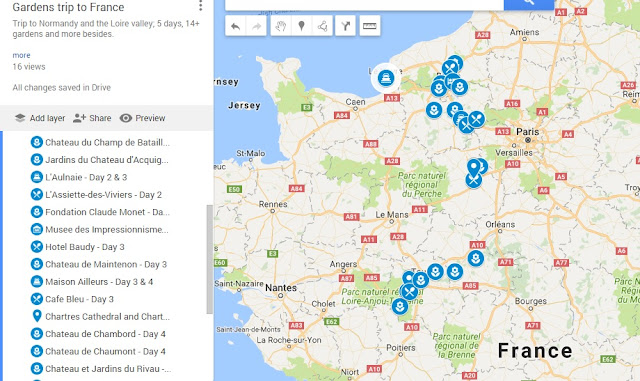 Map of Normandy and Loire gardens visit - May 2017