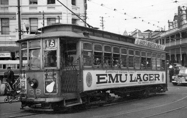 Tram 38 Perth c.1950 Note the pram on the pram hooks and the adverts for beer, indigestion remedy and Phillips lamps