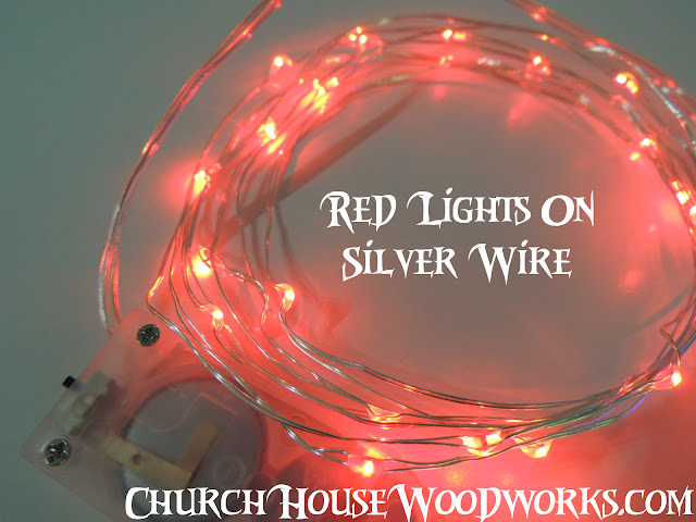 Red Lights On Silver Wire LED Battery Operated String Lights