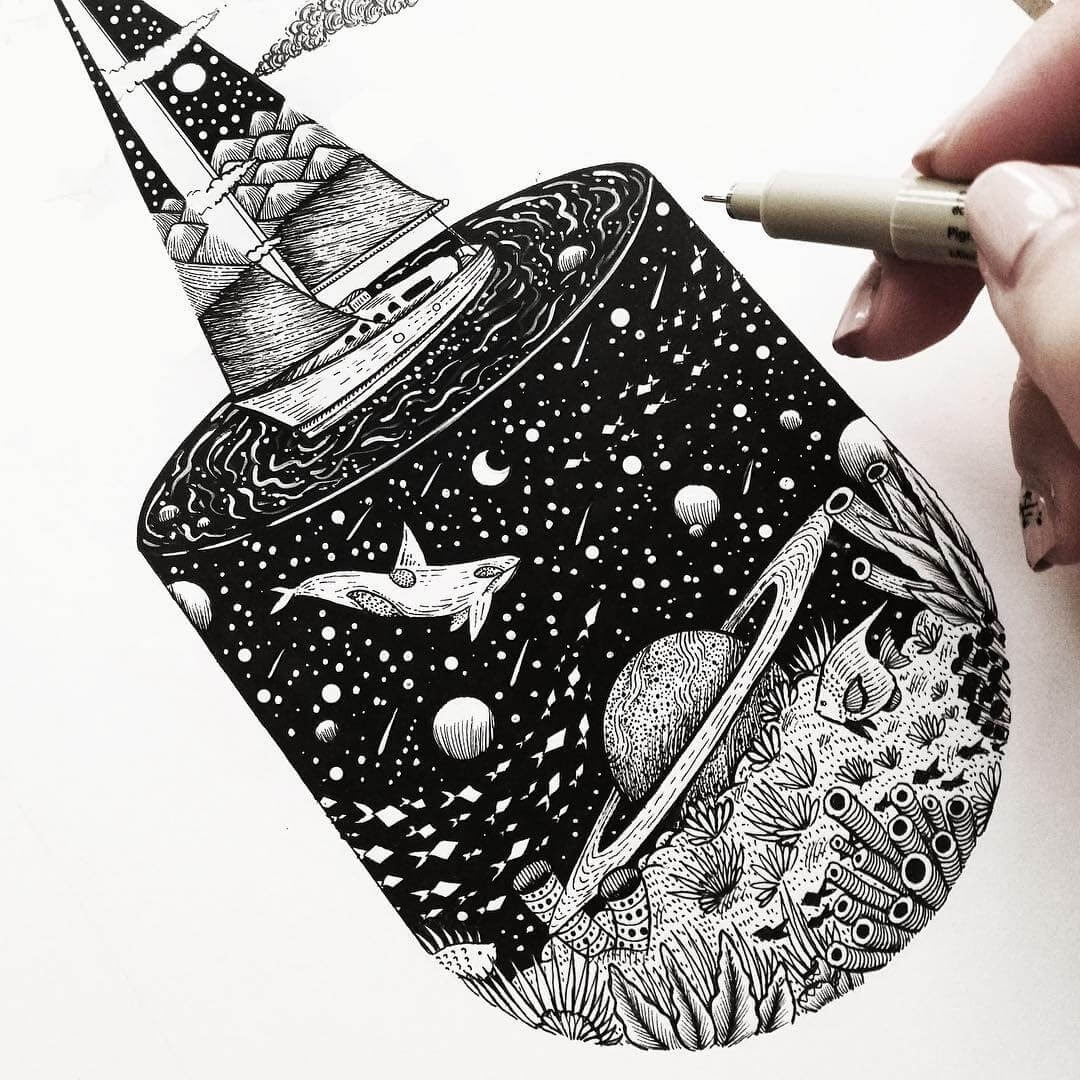 10-The-Whale-and-the-Sail-Ship-Meni-Chatzipanagiotou-Fantasy-and-Surrealism-in-Ink-Illustrations-www-designstack-co