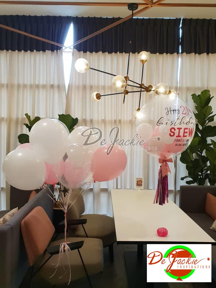 Sweet 21st Birthday Surprise Helium Balloons Customised Bubble Balloon