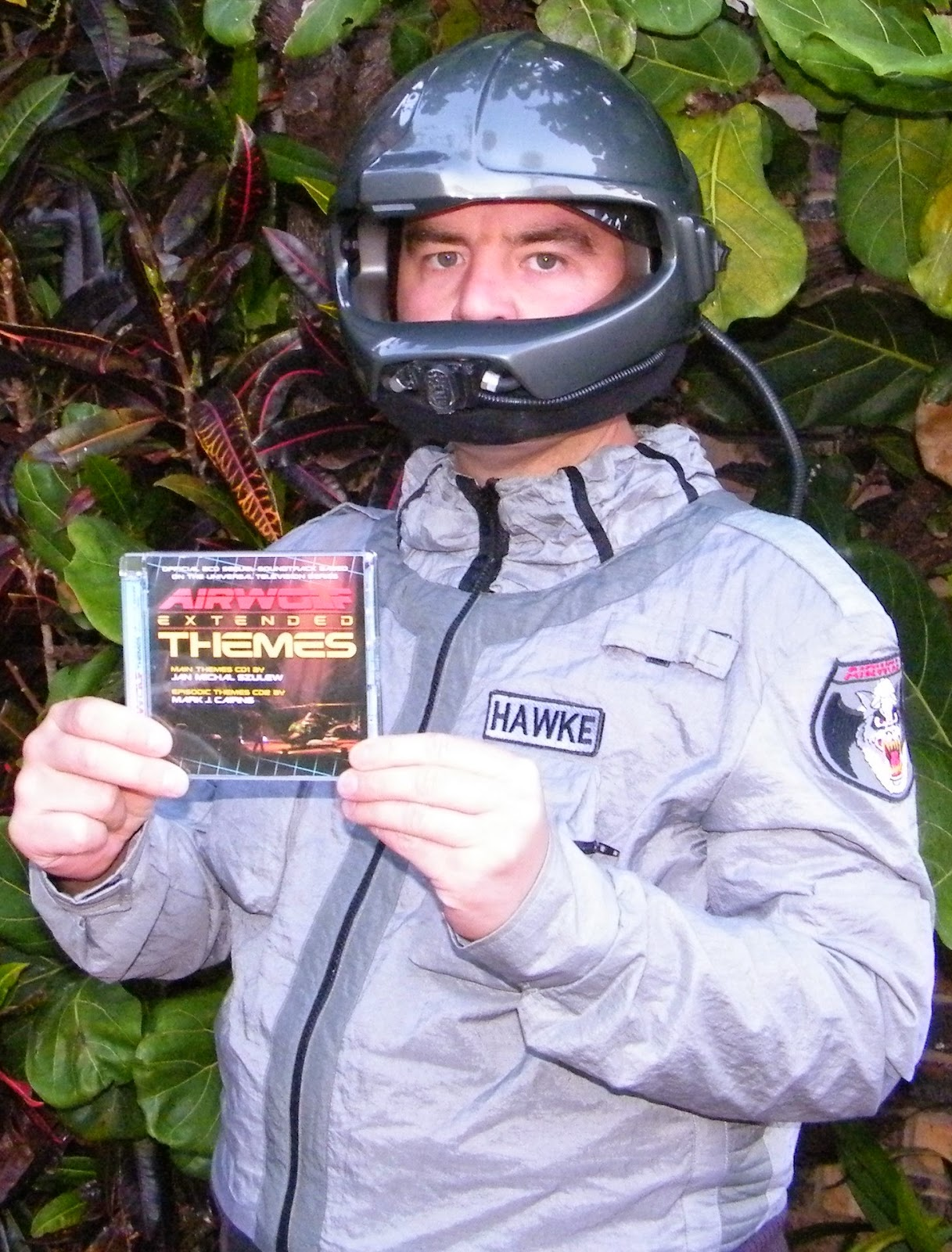 South Africa Airwolf fan, Gérann Gerber with the Airwolf Extended Themes 2CD, in his Replica Flightsuit & Helmet created by Steven W. Stull