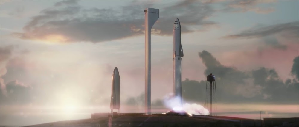 SpaceX crew Big Falcon Rocket (BFR) launching from Earth