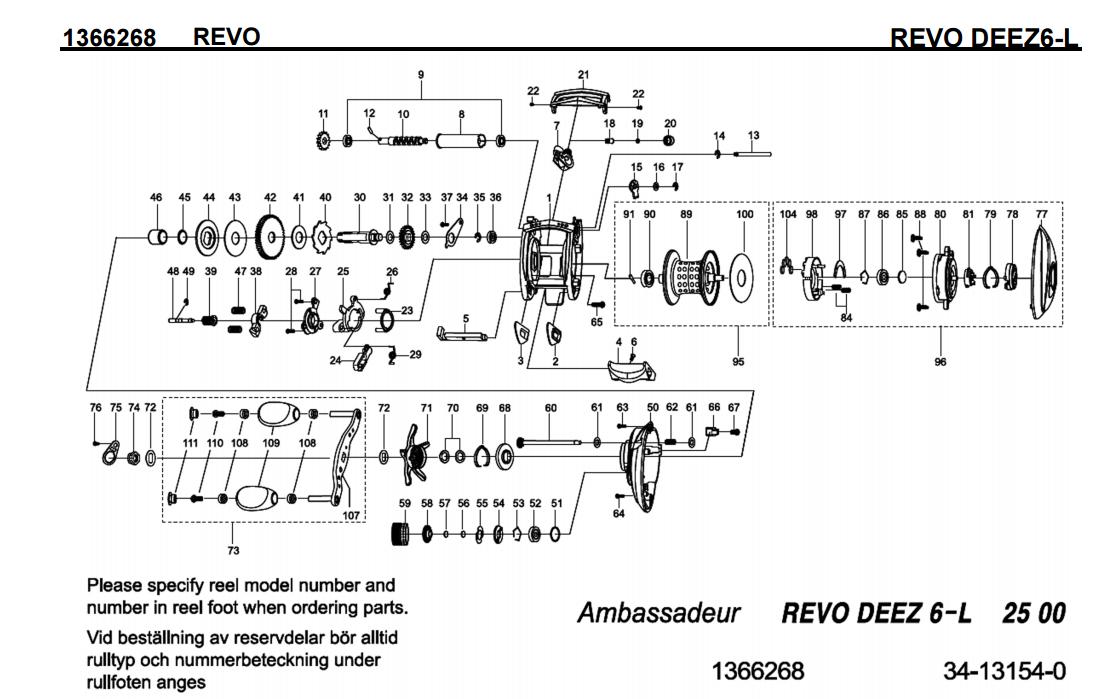 most complete reels schematics : abu garcia revo ... on