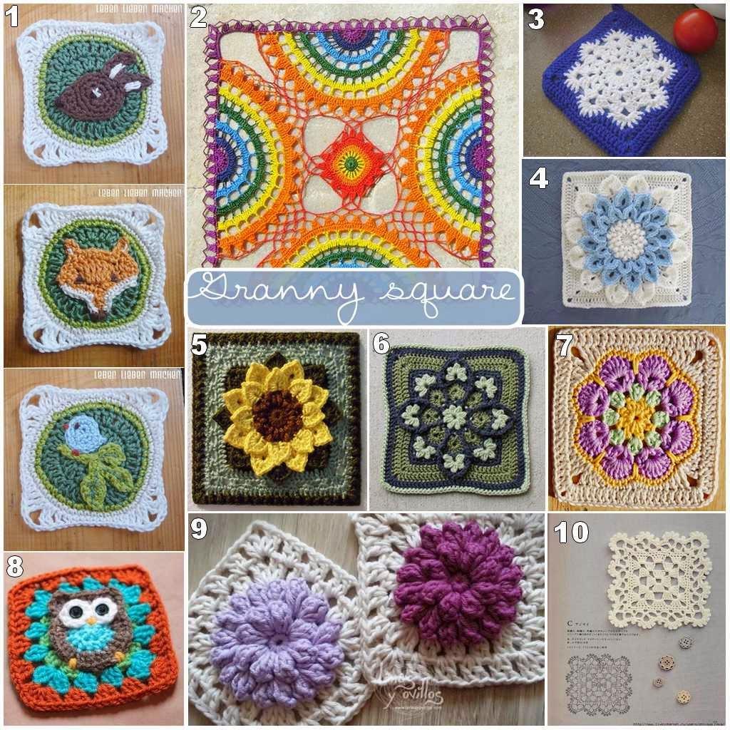 Crohet granny squares o cuadros de ganchillo de la - Mantas de crochet a cuadros ...