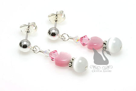 Love's Blush Crystal Rose Pink Heart Post Earrings (E024-D2)