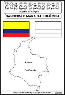 Bandeira e mapa da Colômbia
