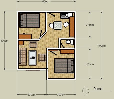 denah rumah minimalis 2 lantai 5 kamar tidur