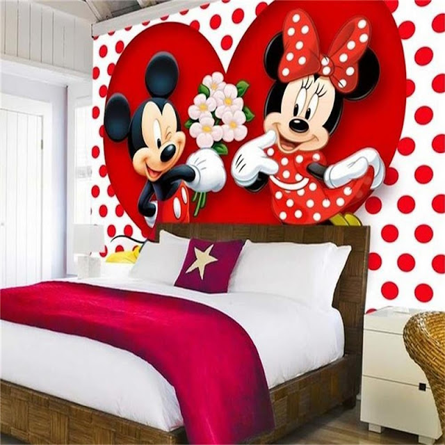 Minnie and mickey mouse wall mural Free shipping Cartoon childrens room kids hearts romantic girls room Disney