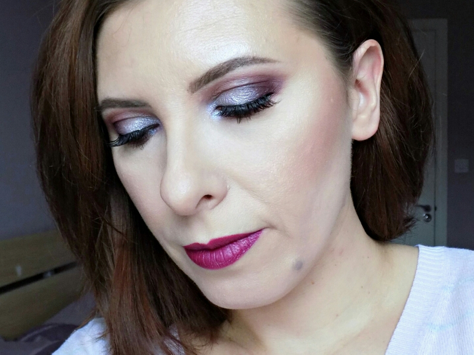 Makeup look: Winter-y silvers and purples