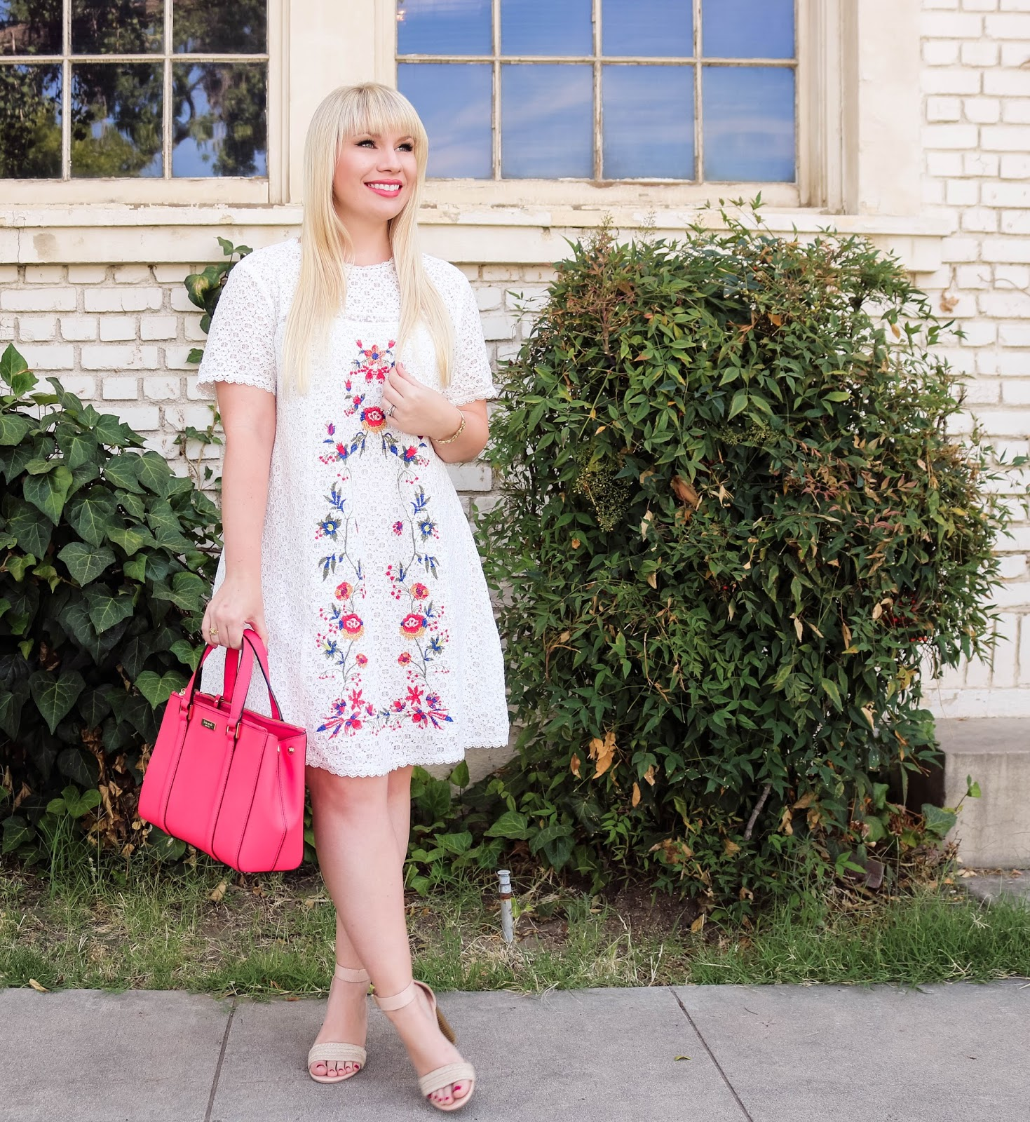 Elizabeth Hugen of Lizzie in Lace styles the Perfect White Embroidered Dress for Summer