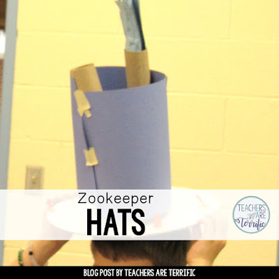 STEM Challenge- Read a book about a zoo and then have kids build a zookeeper hat! Check this blog post for ideas!