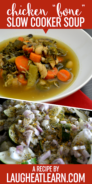 """This homemade Chicken """"Bone"""" Soup is a slow cooker staple in our household. We love how easy, quick, and flexible it is depending on the veggies we have at home at the time. Using a leftover rotisserie chicken is the base of this healthy and hearty recipe."""