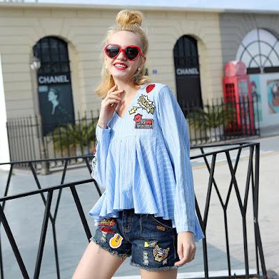Women's Long Sleeve V-neck Stripe Baby Shirt