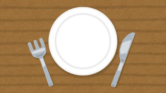 テーブルの上の皿とナイフとフォークのイラスト
