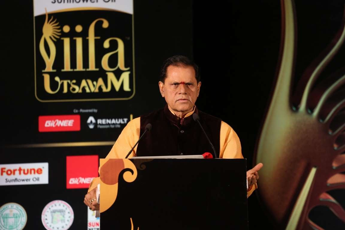 Producer T Subbarami Reddy addresses the audience during IIFA Utsavam  press meet