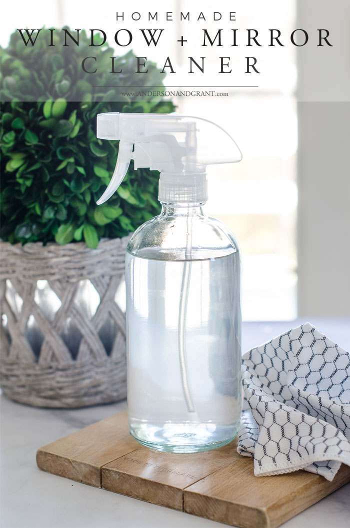 Recipe for homemade window, glass and mirror cleaner at www.andersonandgrant.com #glasscleaner #DIYcleaner #homemadecleaner #natural