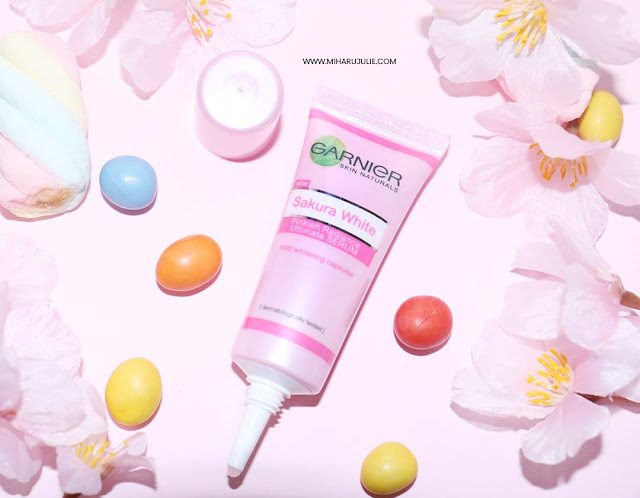 Review Garnier Sakura White Pinkish Radiance Foam, Essence & Serum Cream