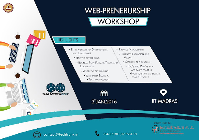 Workshop on Web Preneurship at IIT Madras on Jan 03, 2016