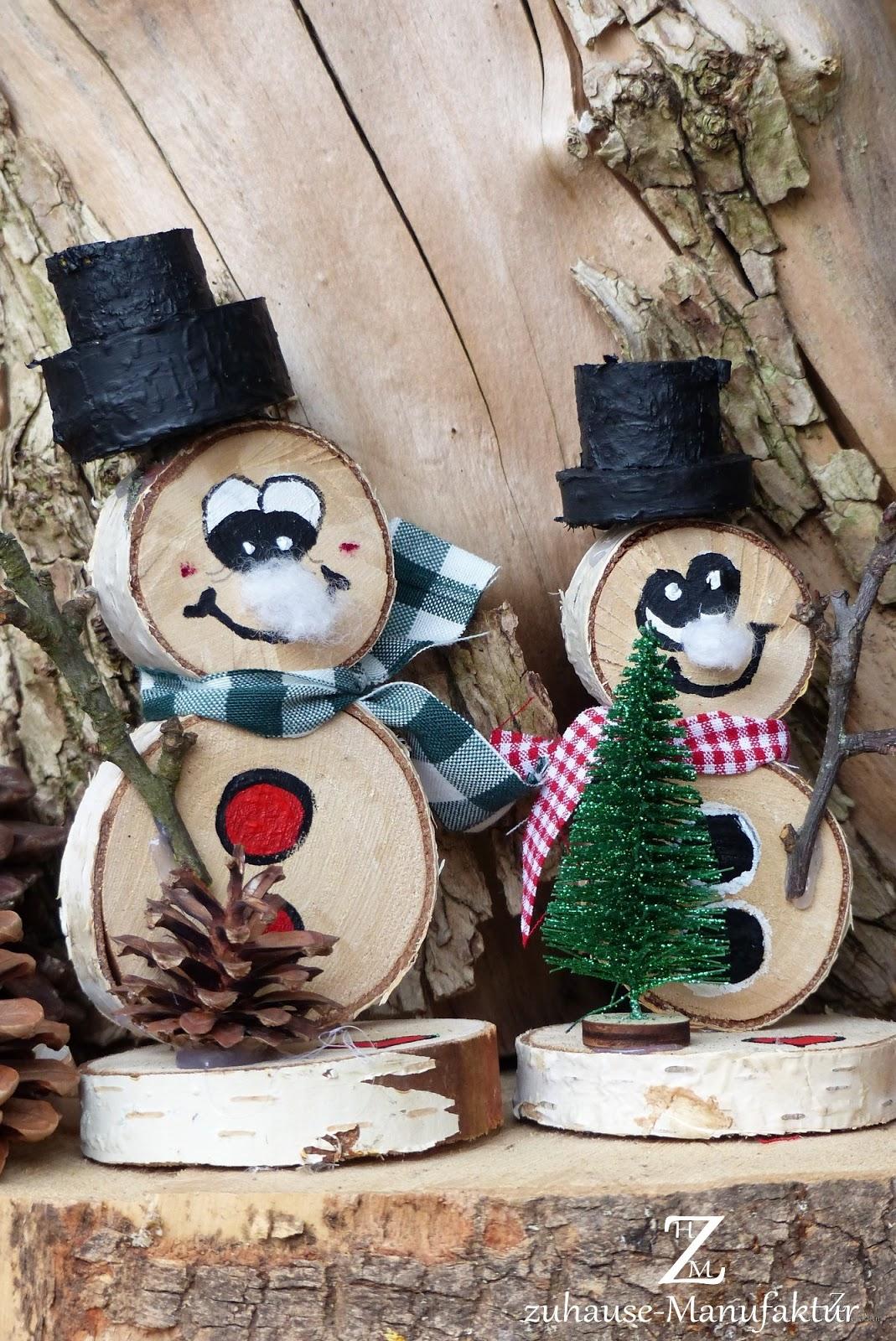 Zuhause Manufaktur Basteln Mit Holzscheibchen Schneemännchen