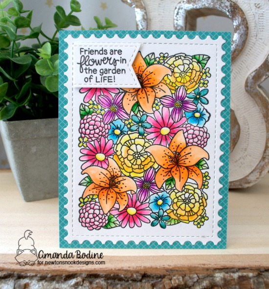 Floral Card by Amanda Bodine | Blooming Botanicals Stamp Set + Framework Die Set by Newton's Nook Designs #newtonsnook