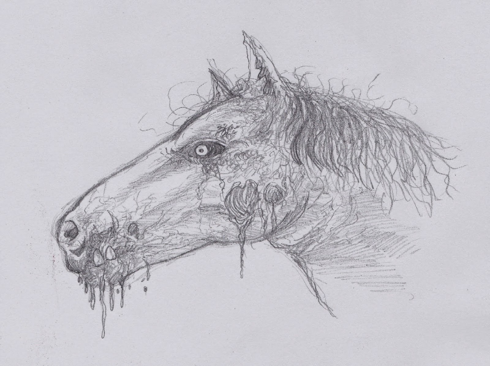 how to draw zombie horse head