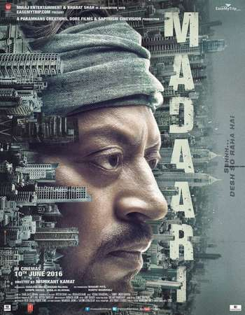 Poster Of Madaari 2016 Hindi 300MB HDRip 480p Watch Online Free Download downloadhub.net