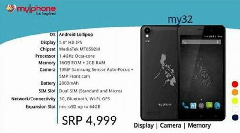 MyPhone My32 Leaks Too, Comes With 13 MP Samsung Camera Priced At 4999 Pesos!
