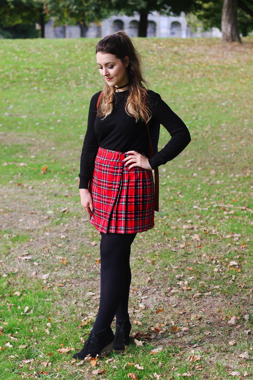 Red tartan skirt outfit