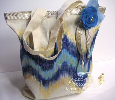 ikat pattern canvas bag with felt flower