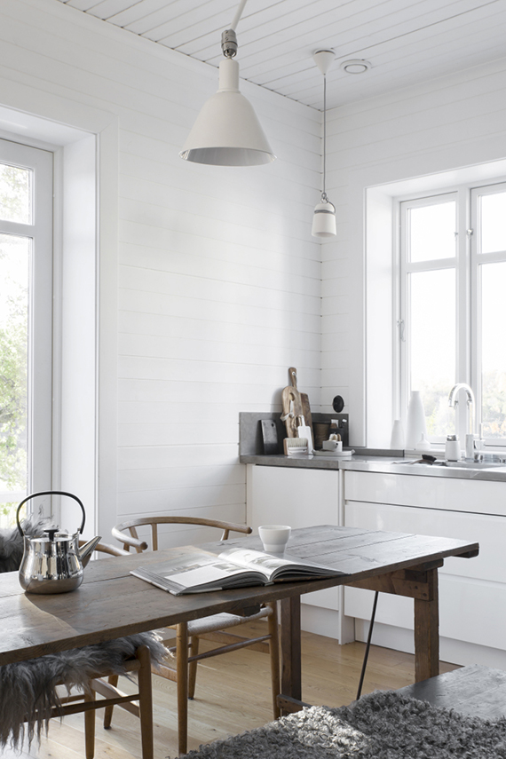 Scandinavian kitchen. Styling by Pella Hedeby. Photography by Medina Lind via My Home Magazine