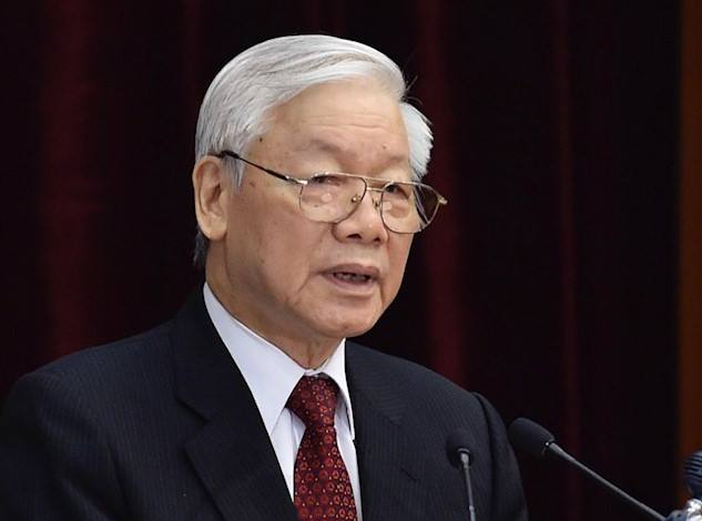 Tổng bí thư Nguyễn Phú Trọng tại Hội nghị Trung ương 8