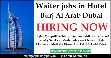 Waiter jobs in Hotel Burj Al Arab Dubai