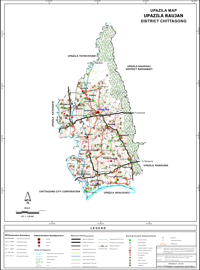 Raozan Upazila Map Chittagong District Bangladesh