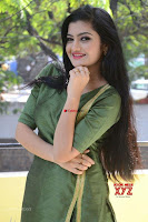 Akshitha cute beauty in Green Salwar at Satya Gang Movie Audio Success meet ~  Exclusive Galleries 031.jpg