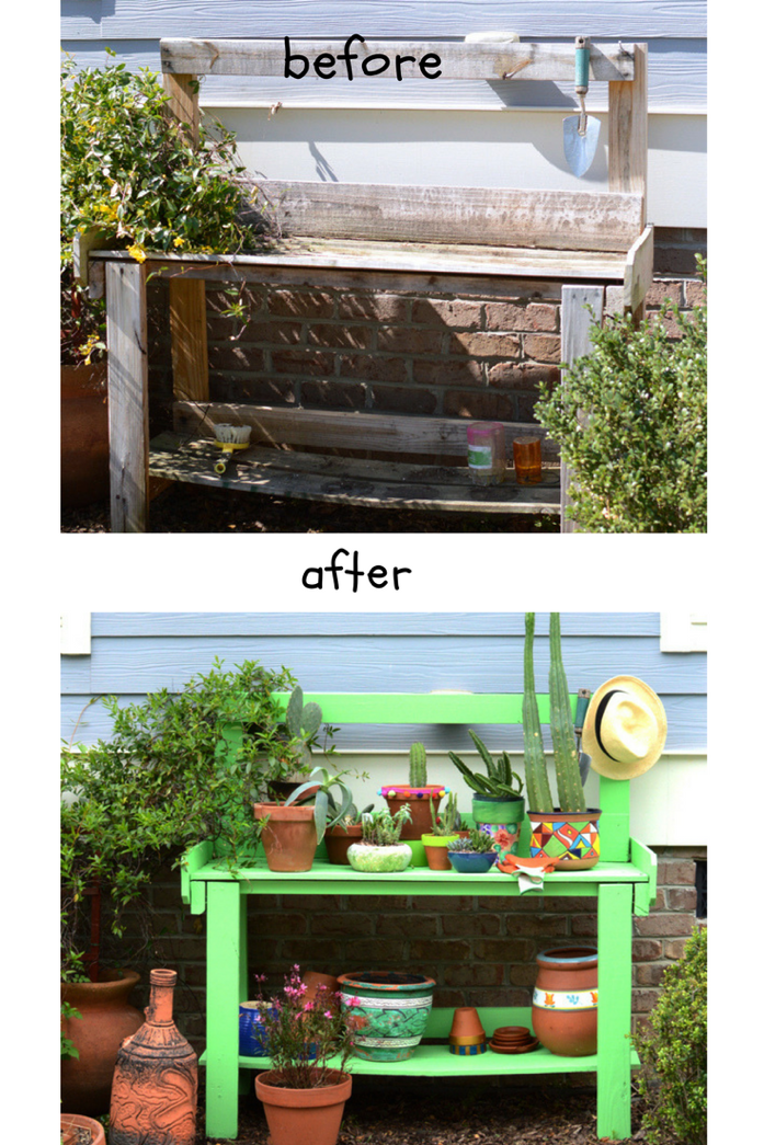 Potting Bench Gets a Makeover In Time For Spring- design addict mom