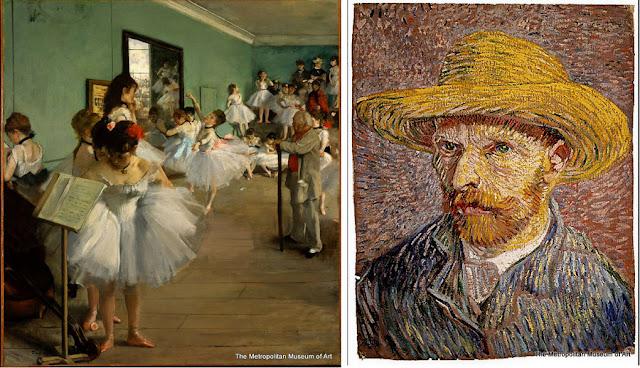 """Nova York - Museu Metropolitan - """"A Aula de Dança"""", de Degas, e """"Autorretrato com Chapéu de Palha"""", de Van Gogh"""