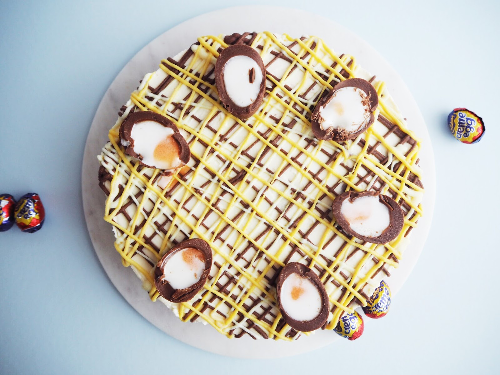 Gooey No Bake Cadbury Creme Egg Cheesecake Recipe