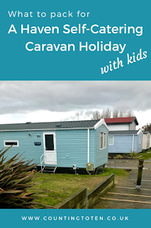 Text saying What to pack for a Haven self-catering caravan holiday with kids above a photo of caravans