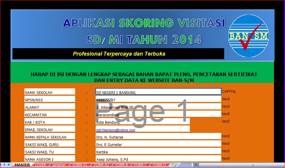Penilaian Visitasi Akreditasi S-M 2014 Format Excel