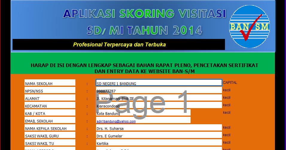 Penilaian Visitasi Akreditasi S M 2014 Format Excel File Sekolah