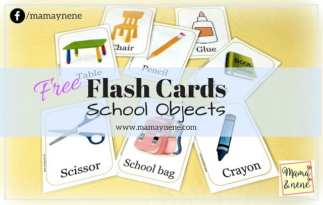 Free Flash Cards: School Objects. Inglés para niños.