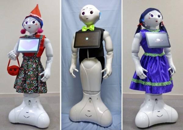 I robot Pepper vestito con diversi abiti e accessori