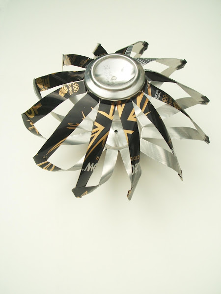 completed upcycled soda can wind spinner