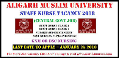 Aligarh Muslim University Staff Nurse Vacancy 2018 (Central Govt Job)