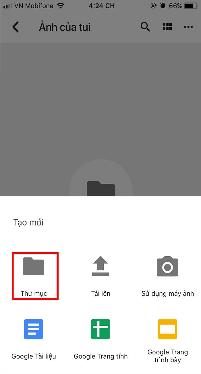cách tạo thư mục mới trên google drive ở Android và IOS