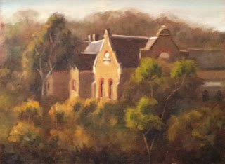 Oil painting of a nineteenth-century convent surrounded by eucalyptus trees.