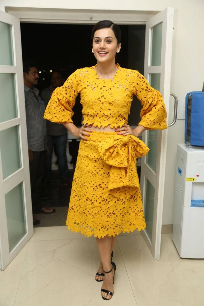 Taapsee Stills At Movie Press Meet In Yellow Dress